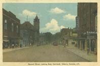 Second Street looking East, Cornwall, Ont. postcard