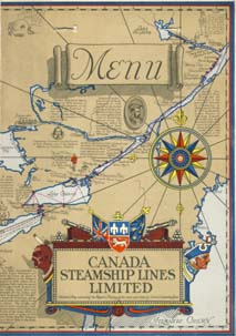 Canada Steamship Lines Limited menu 1921