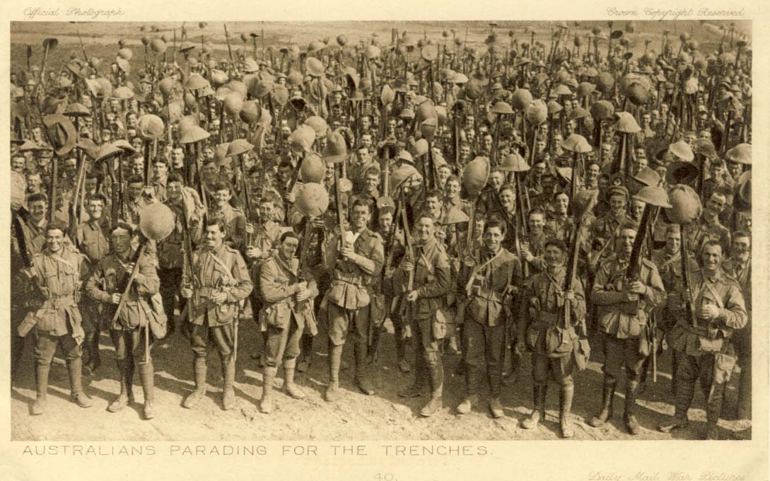 Australians parading for the trenches postcard