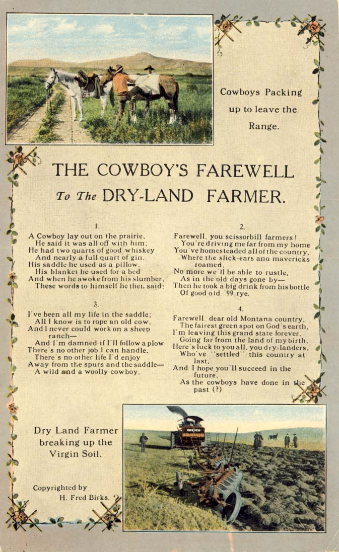 The cowboy's farewell to the dry-land farme', postcard 1910