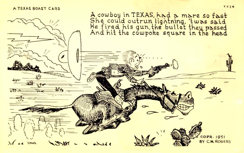 A cowboy in Texas had a mare, postcard 1951