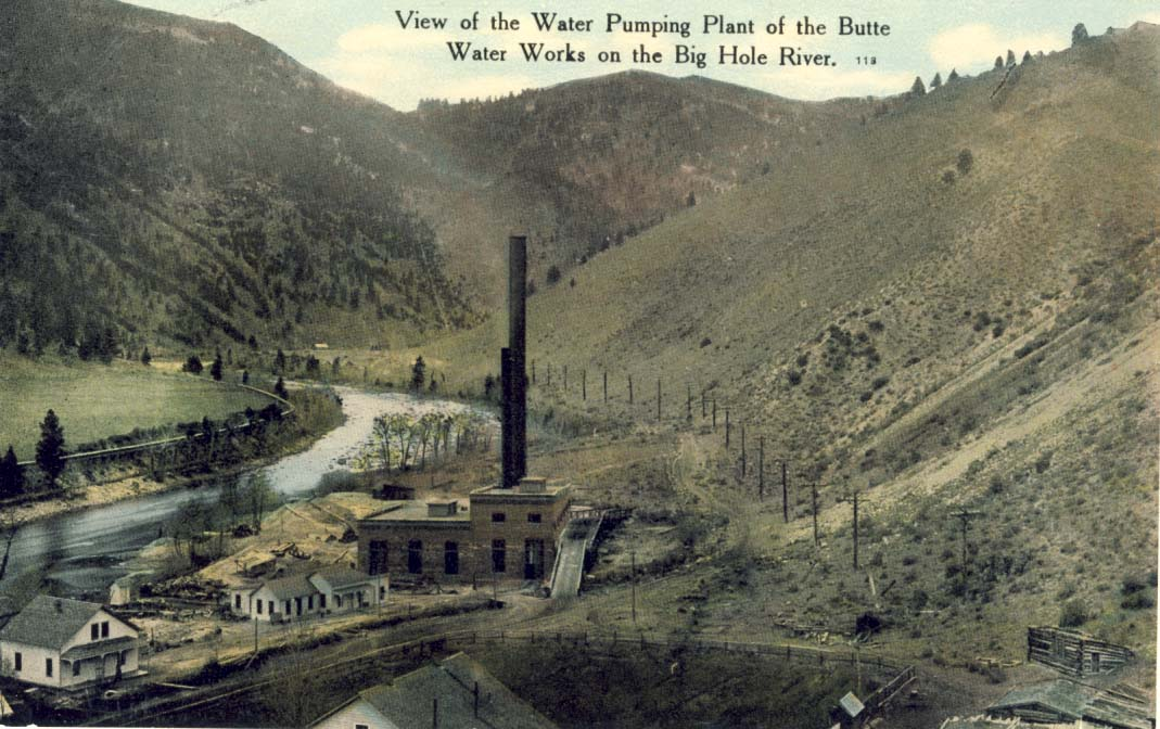 View of the water pumping plant of the Butte Water Works on the Big Hole River postcard