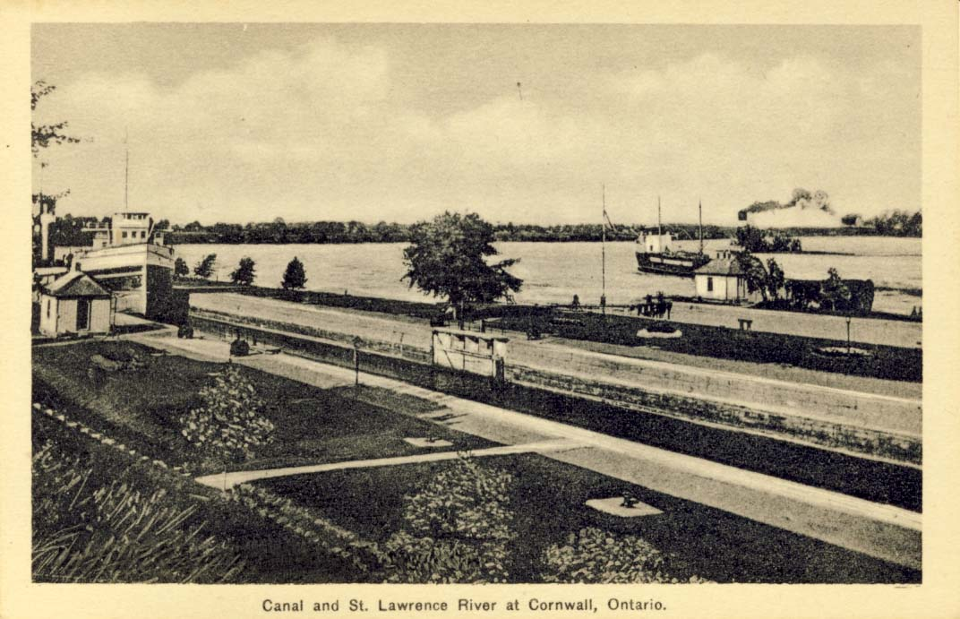 Canal and St. Lawrence River at Cornwall, Ontario postcard