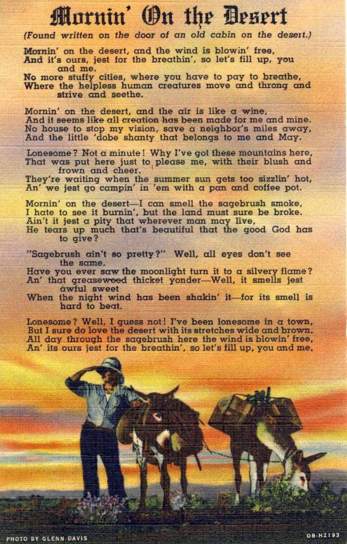 Mornin' on the desert, postcard, 1940