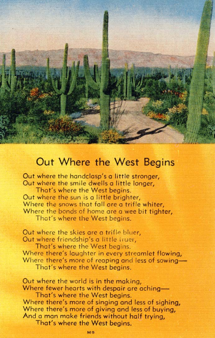 Out where the West begins postcard