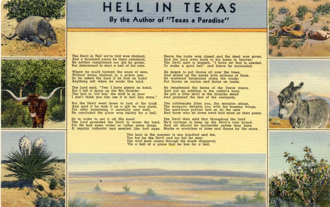 Hell in Texas, postcard, 1938
