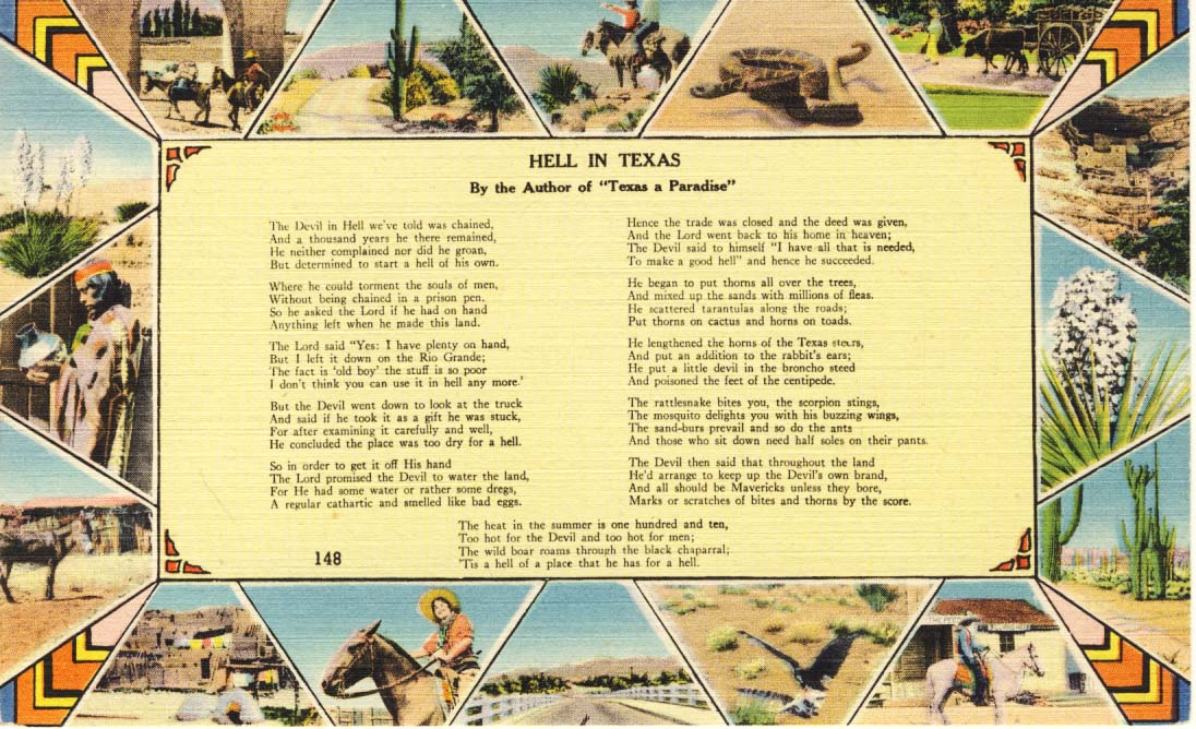 Hell in Texas, postcard, 1944
