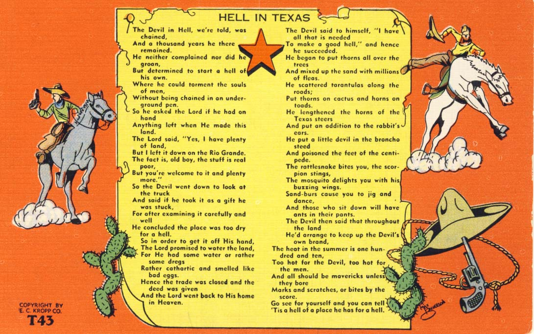 Hell in Texas, postcard 1950s