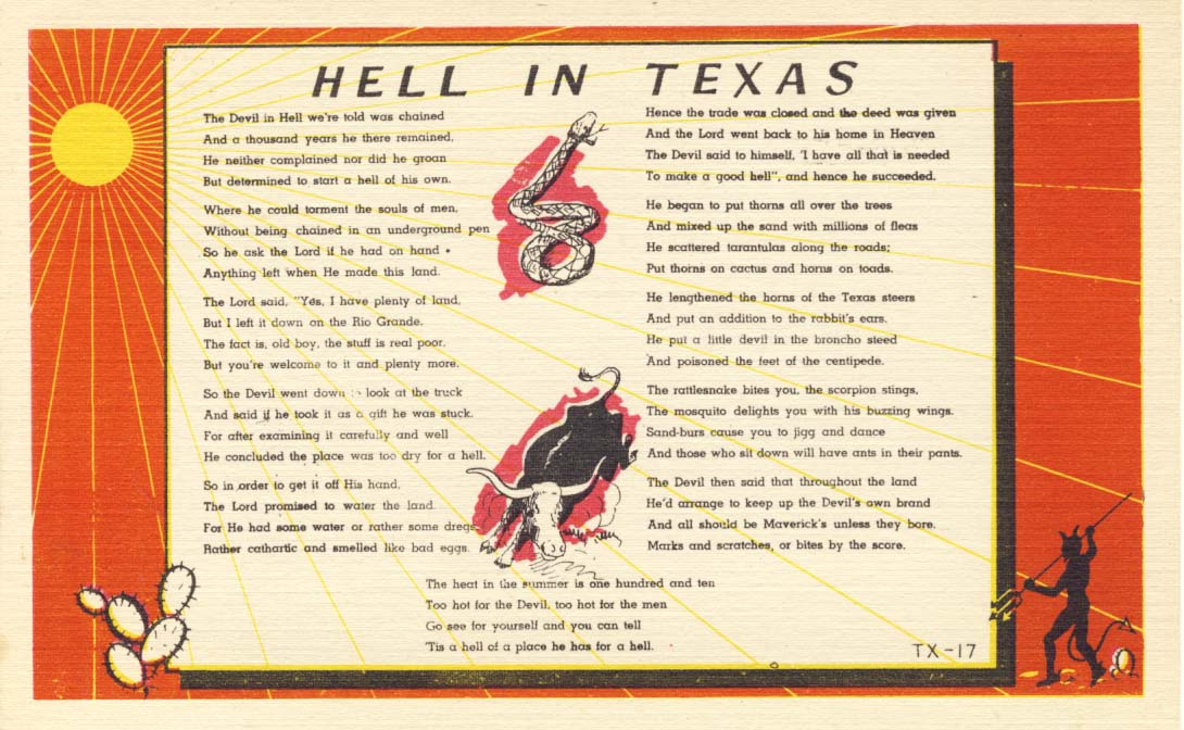 Hell in Texas, postcard 1943