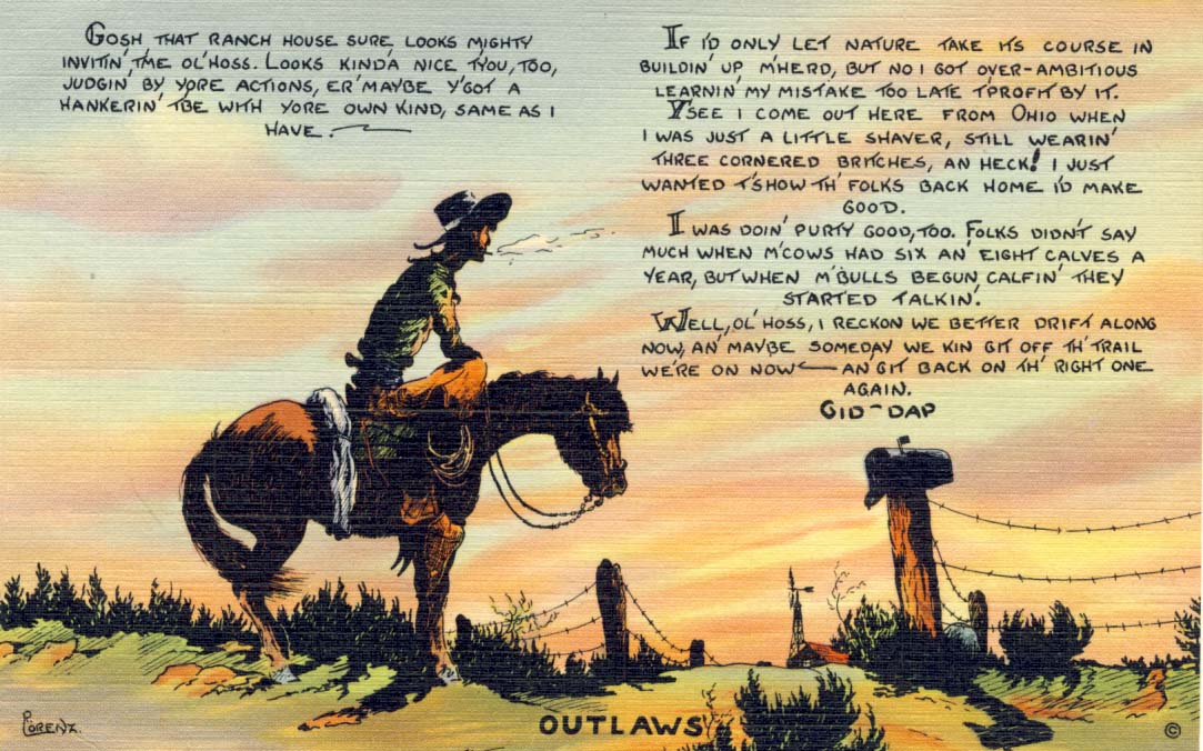 Outlaws postcard 1941