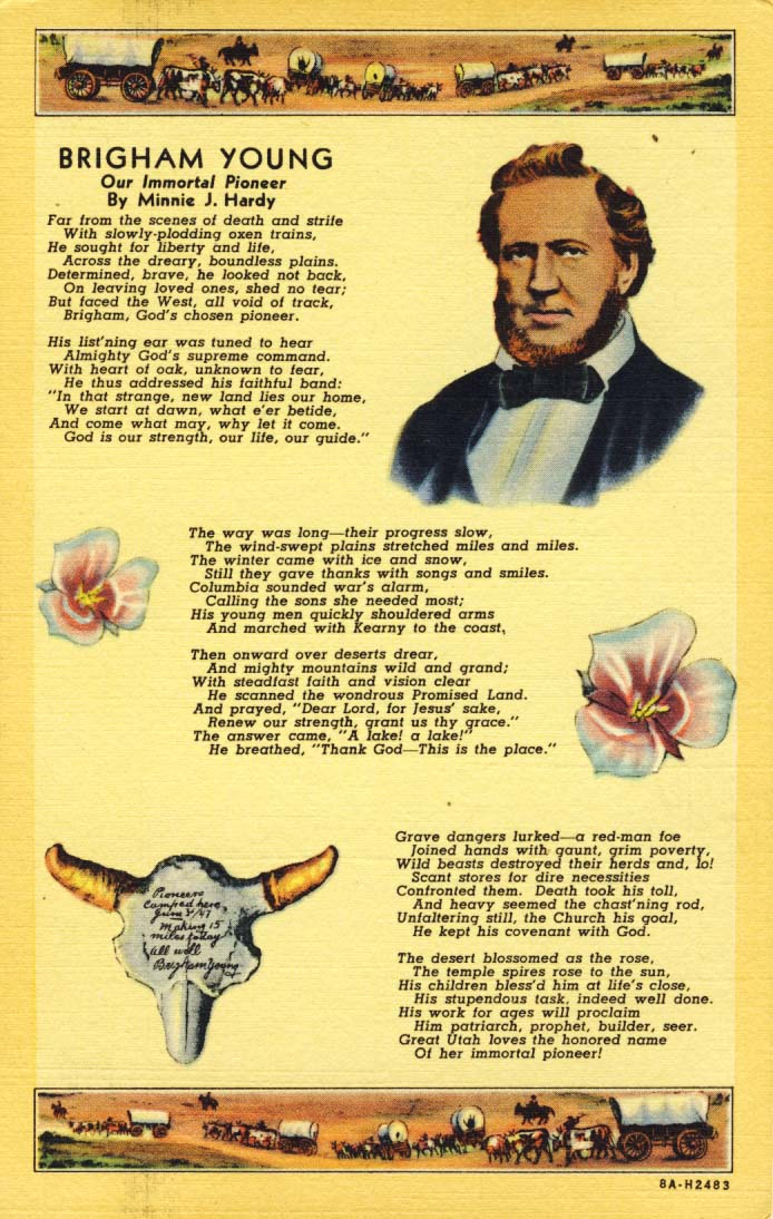 Brigham Young: our immortal pioneer postcard 1938
