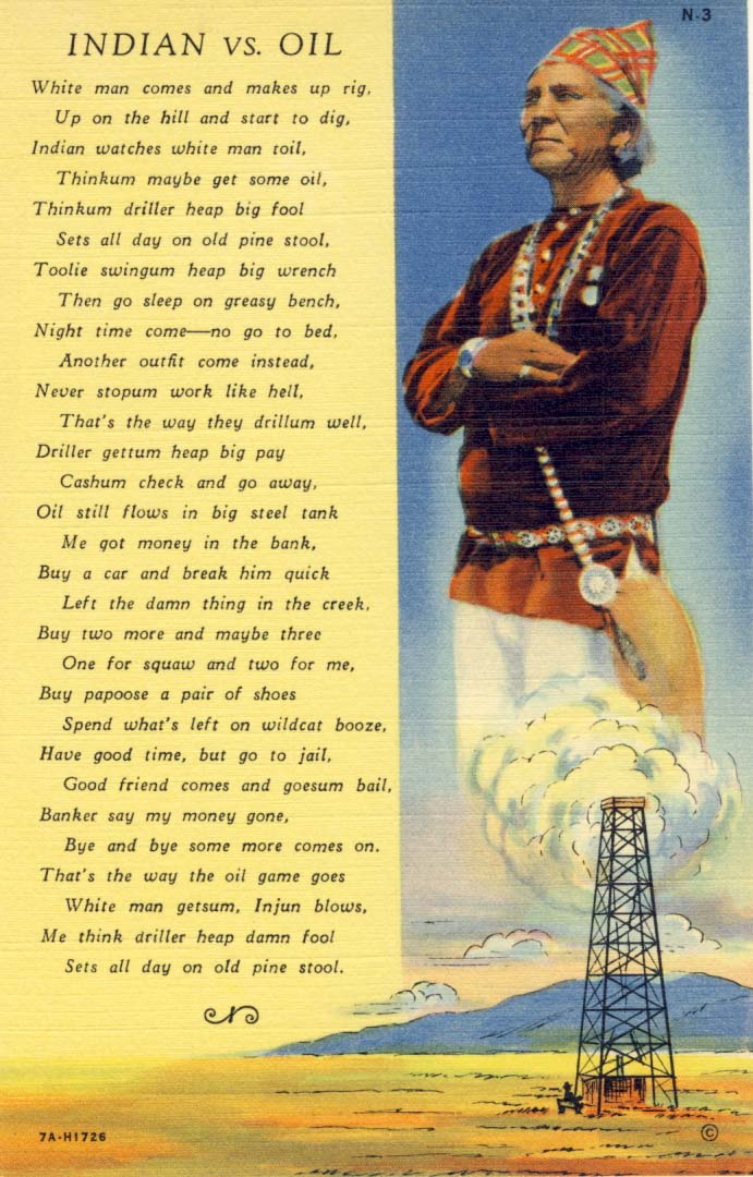 Indian vs. oil postcard 1937