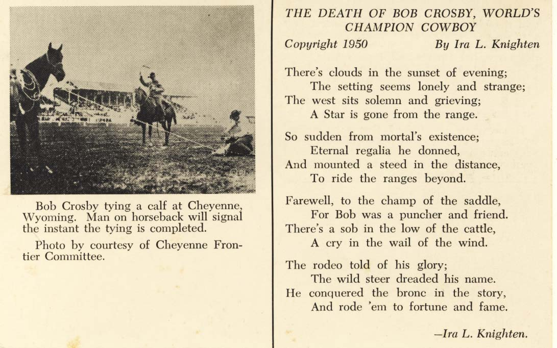 The death of Bob Crosby postcard 1950