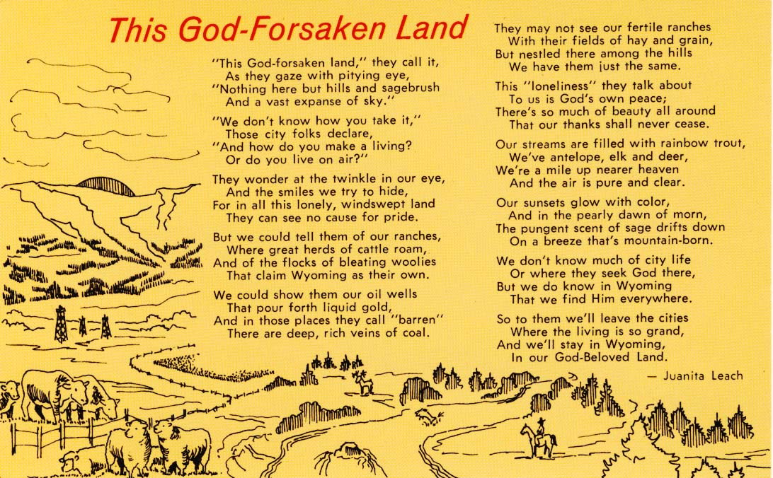 This God-forsaken land postcard 1972