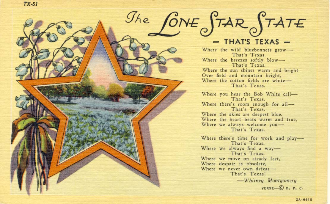 The Lone Star state postcard 1932