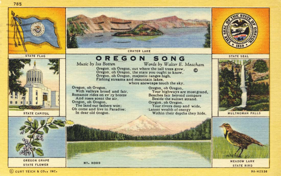 Oregon song postcard, 1939