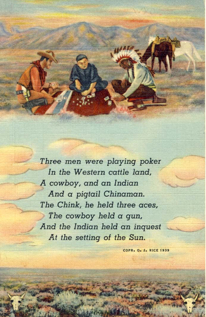 Three men were playing poker postcard 1939