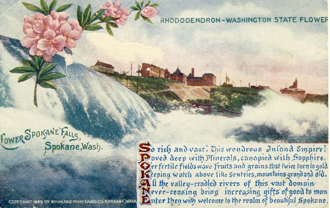 Lower Spokane Falls postcard 1909