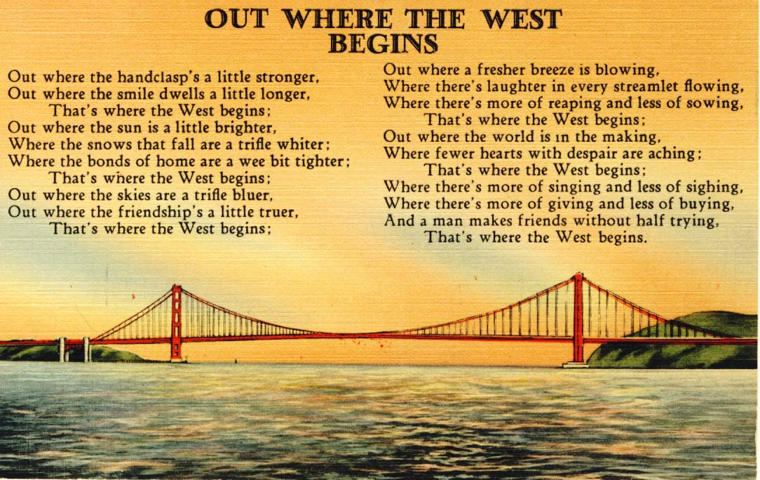 Out where the West begins postcard 1940s