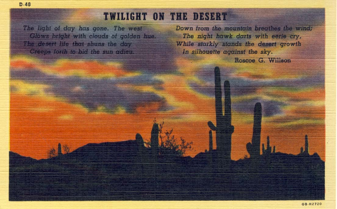 Twilight on the desert postcard 1940