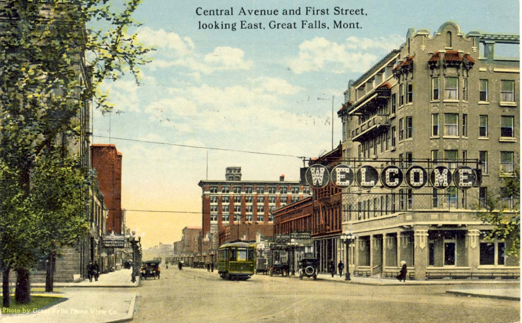 Central Avenue and First Street, looking east, Great Falls, Mont., postcard