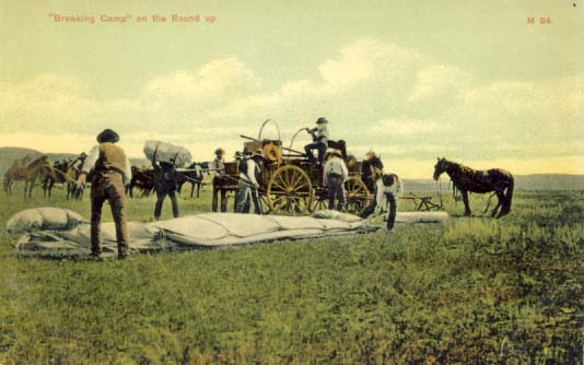 Breaking camp' on the round up, postcard 1900s
