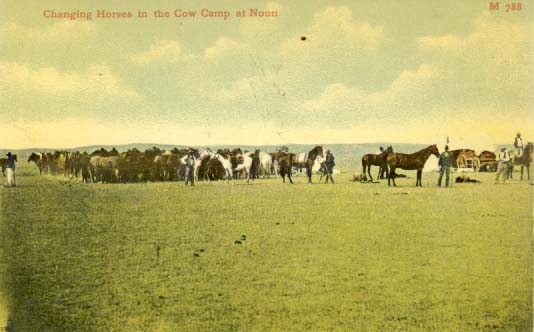 Changing horses in the cow camp at noon, postcard 1900s