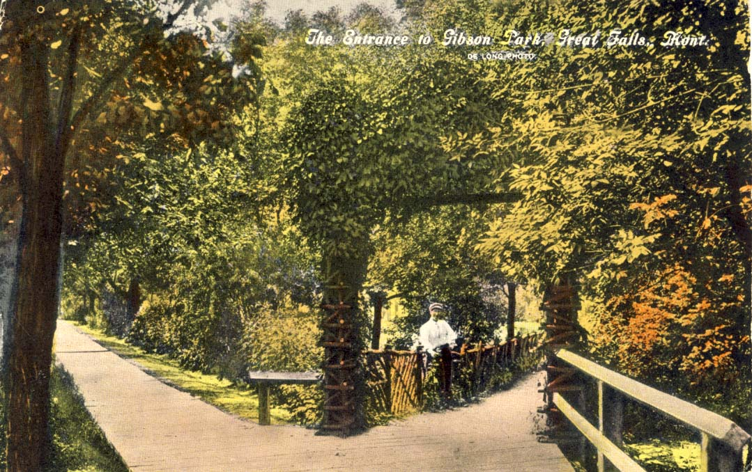 The entrance to Gibson Park, Great Falls, Montana postcard