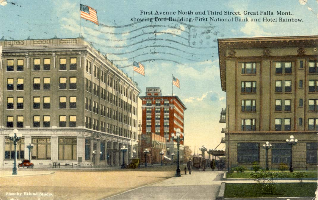 First Avenue North and Third Street, Great Falls, Mont., postcard