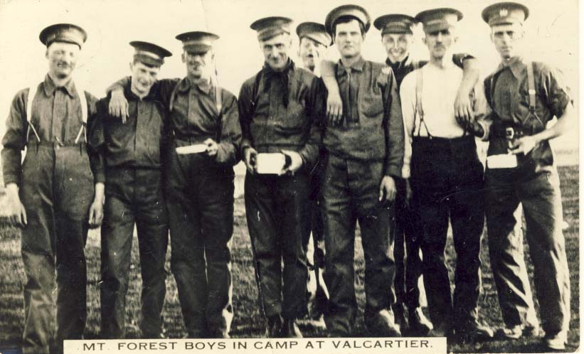 Mt. Forest boys in camp at Valcartier postcard