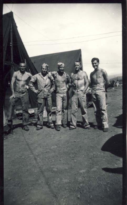 Fourth Marine Division, five men photograph