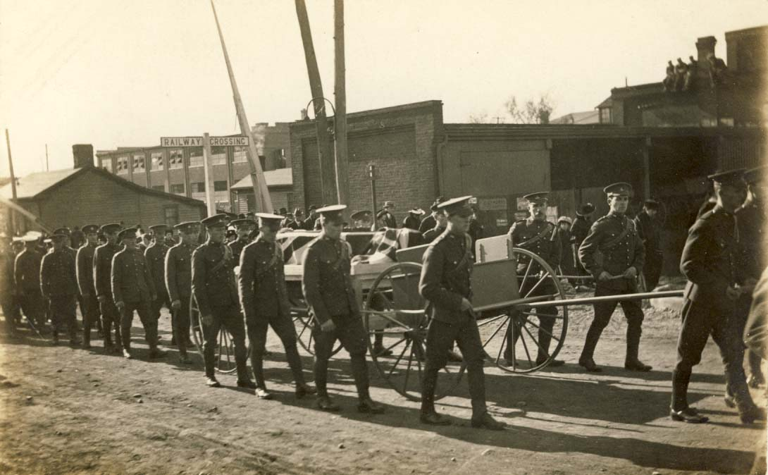 Canadian army funeral, WWI postcard