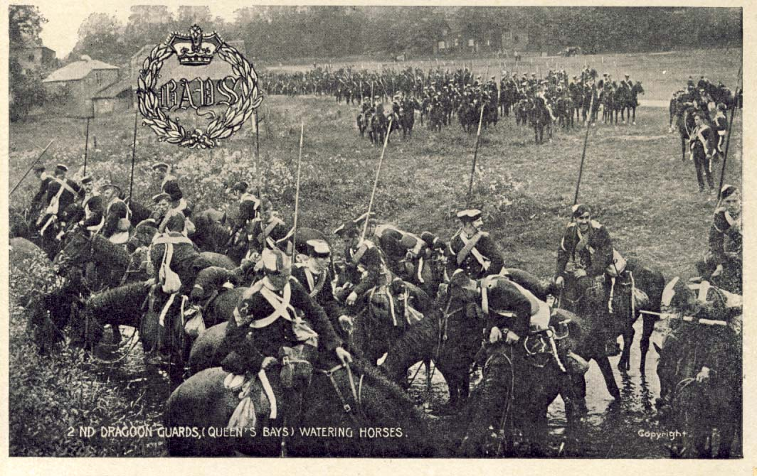 2nd Dragoon Guards, (Queen's Bays), watering horses postcard