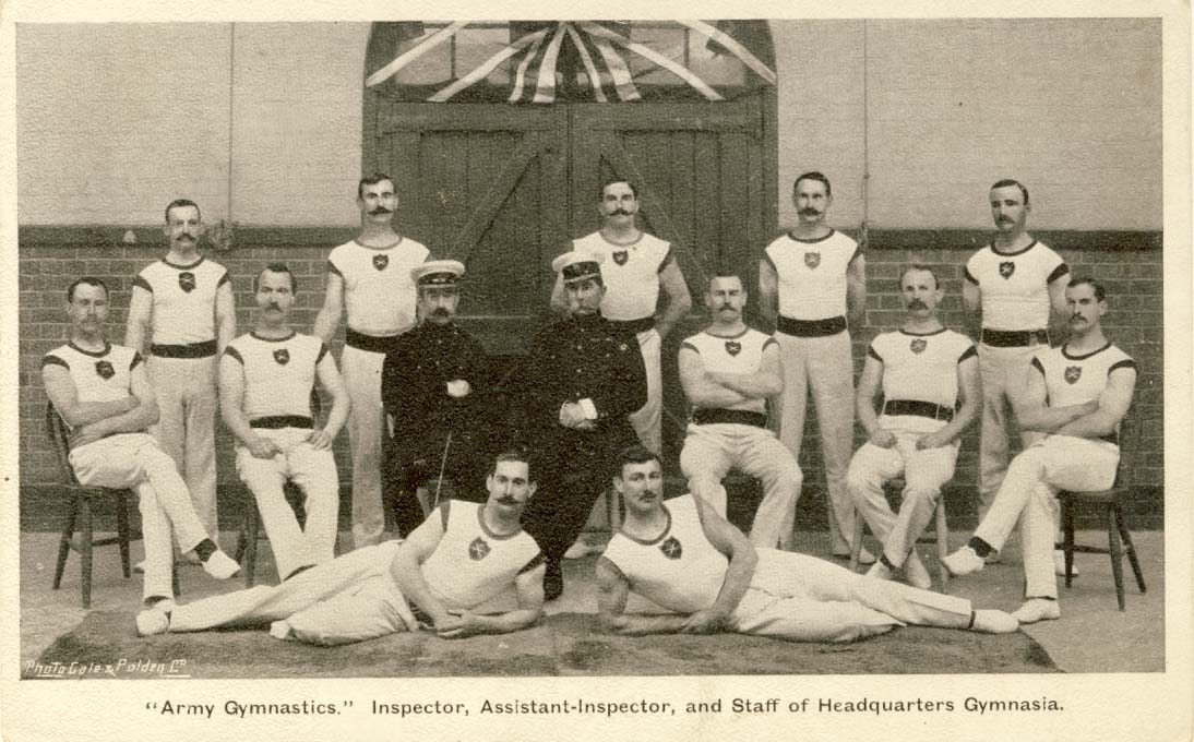 Army gymnastics: Inspector, Assistant-Inspector, and staff of headquarters gymnasia postcard