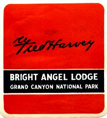 Fred Harvey: Bright Angel Lodge, Grand Canyon National Park. stamp 1930s.