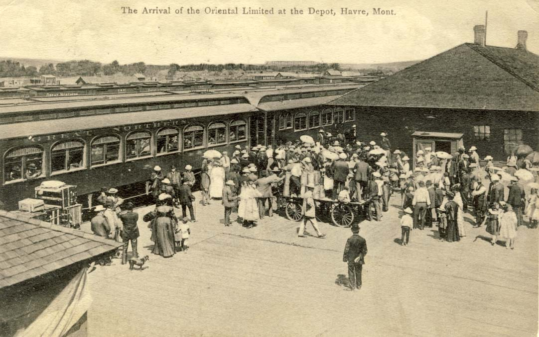 The arrival of the Oriental Limited at the Depot, Havre, Mont. postcard 1908