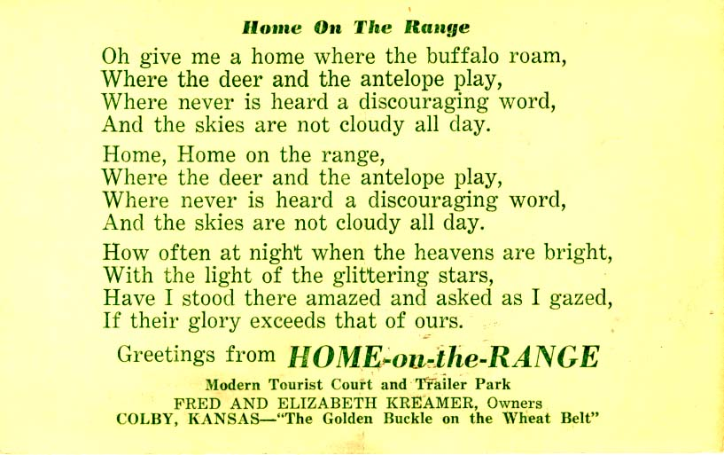 Home on the range postcard 1950s