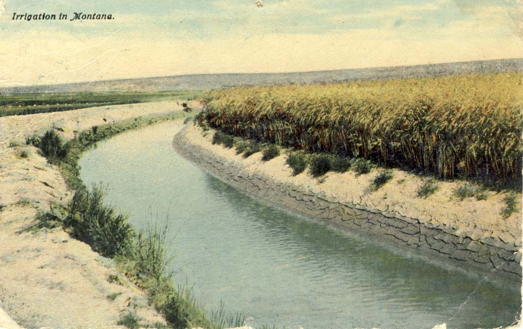 Irrigation in Montana, postcard