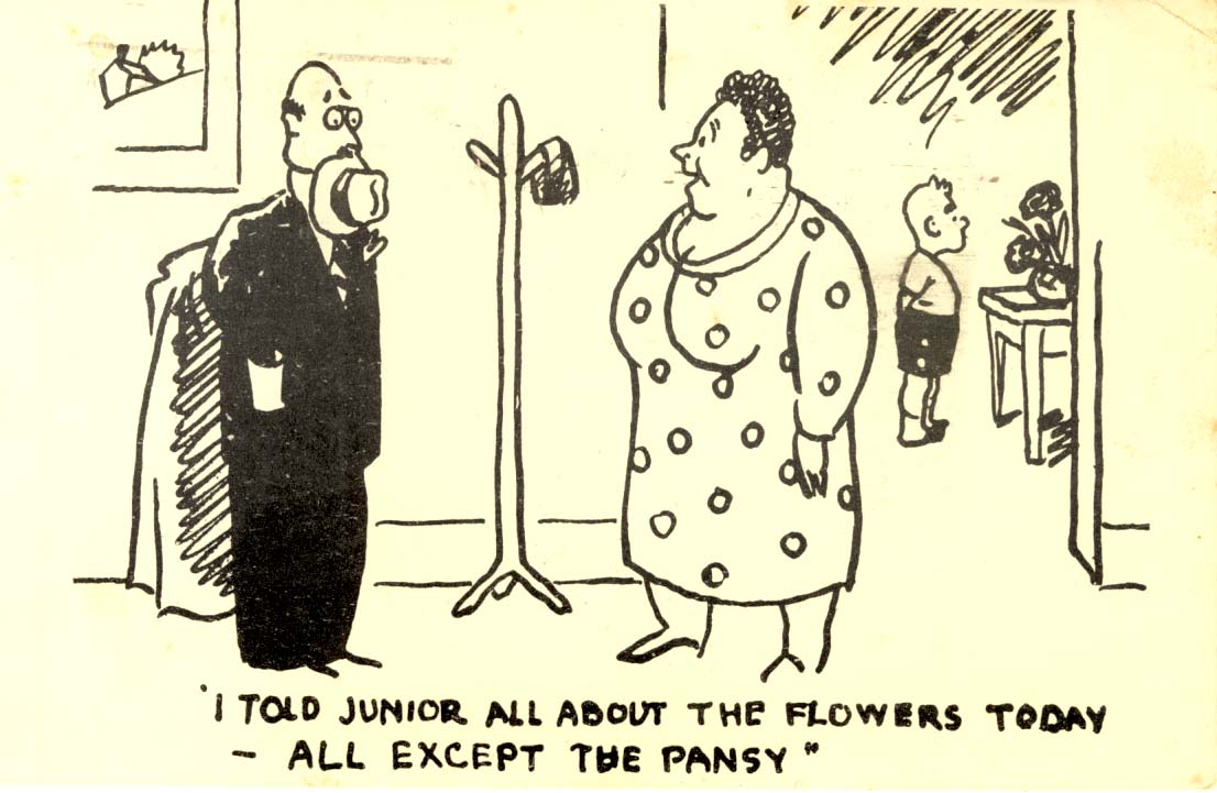 I told junior all about the flowers today -- all except the pansy postcard