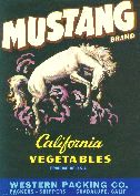 Mustang Brand California vegetables label, 1960s
