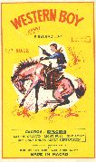 Western Boy Bang! Firecrackers label, 1960s