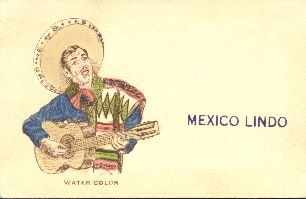 Mexico lindo. Male singer. Postcard, 1940s