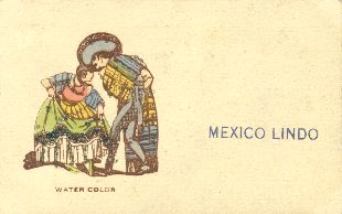 Mexico lindo. Man and woman dancing. Postcard, 1940s