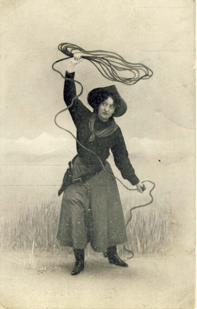 Cowgirl with rope, postcard