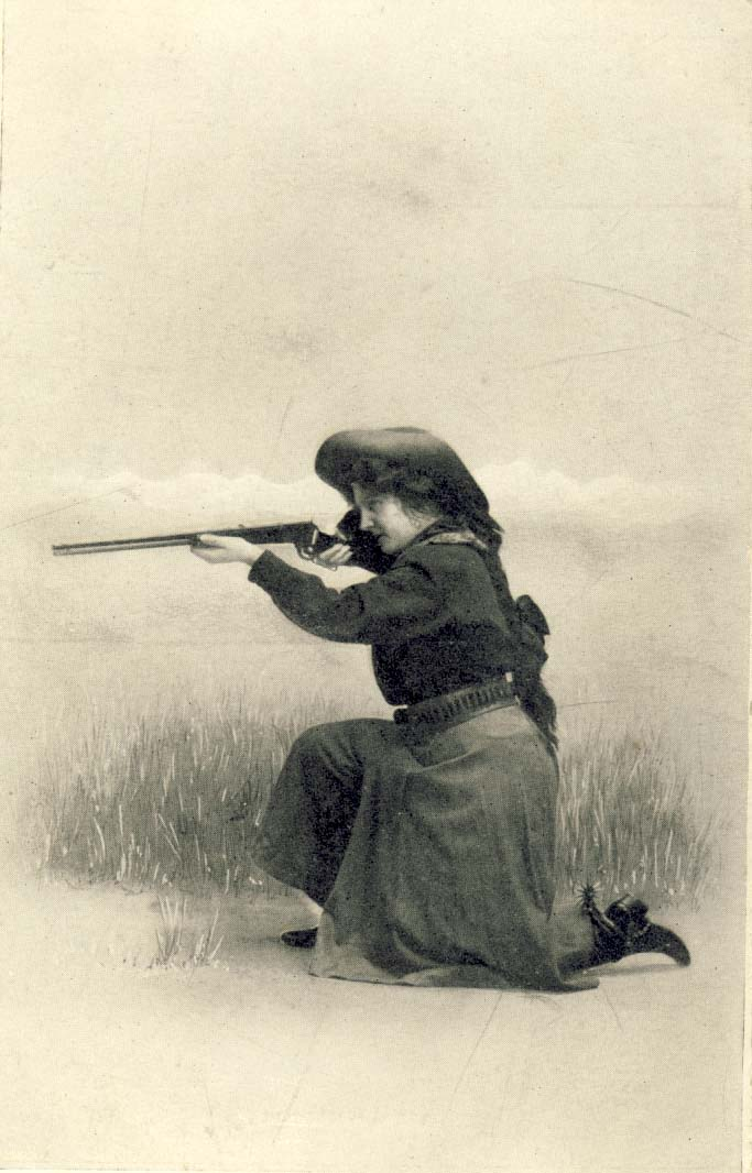 Cowgirl with rifle, postcard