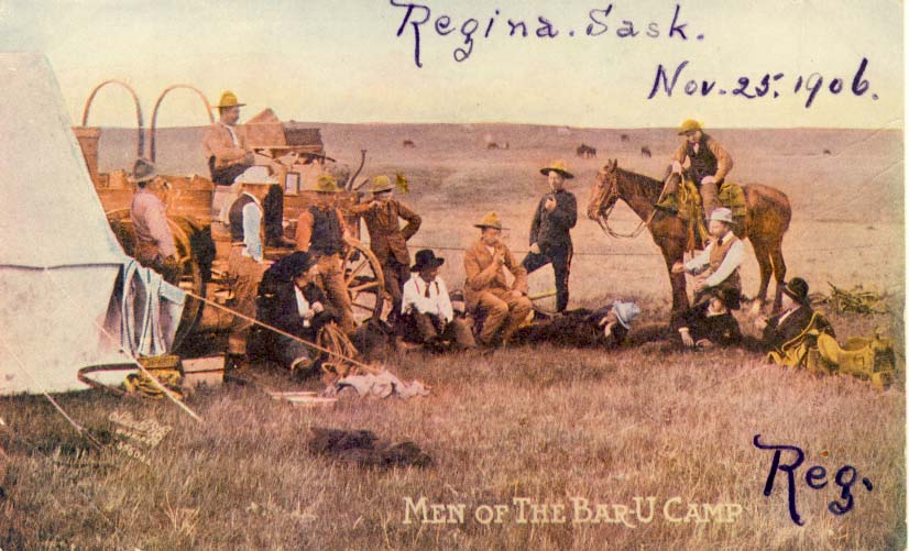 Men of the Bar-U Camp, postcard