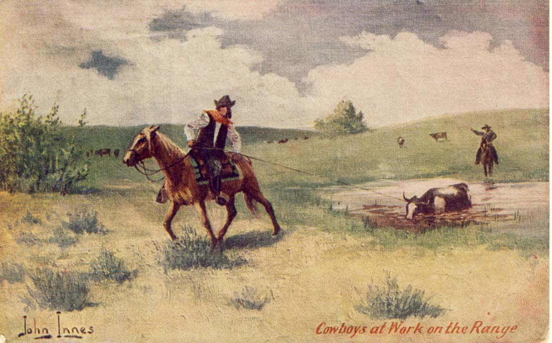 Cowboys at work on the range, postcard