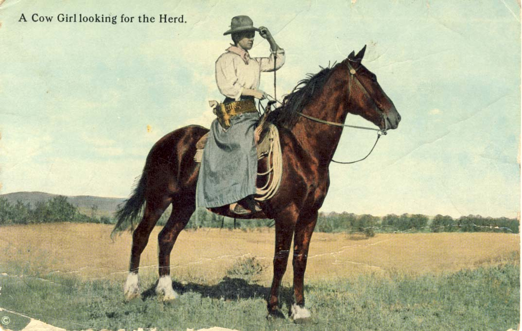 A cow girl looking for the herd, postcard 1908