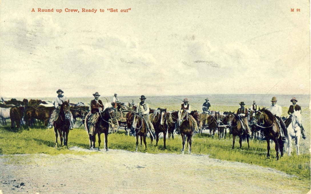 A round up crew, ready to 'set out', postcard 1908