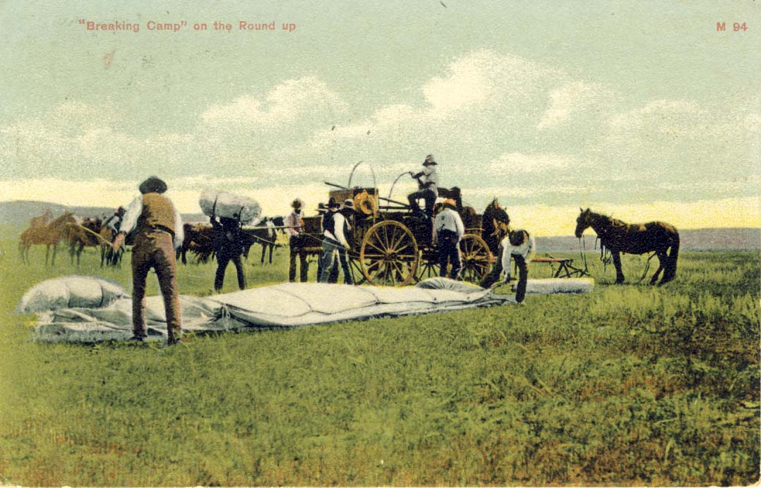 Breaking camp on the round up., postcard